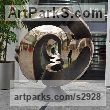 Cire perdue casted bronze Spherical Globe like Ball shaped Round Abstract Contemporary sculpture statuette sculpture by sculptor Jens Ingvard Hansen titled: 'World Wide Widex (Bronze Big abstract Modern Civic sculptures)'