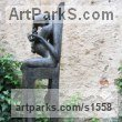 Bronze Females Women Girls Ladies Sculptures Statues statuettes figurines sculpture by Jiř� Net�k titled: 'Wise Woman (Naked Seated Pregnant Girl statues sculpture)'