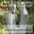 Bronze Resin Love / Affection sculpture by John Brown titled: 'Secrets (abstract Couple Sharing Outdoor garden sculpture)'