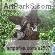 Oak & slate Garden Or Yard / Outside and Outdoor sculpture by sculptor Jon Evans titled: 'Ceridwen (Semi Natural CarvedTree trunk Wood Witch sculpture carving)' - Artwork View 3