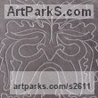 Hand carved Heather Grey Slate (Welsh) Abstract Contemporary Modern Outdoor Outside Garden / Yard sculpture statuary sculpture by sculptor Jon Evans titled: 'Heather Grey (Traditional Green Man Slate Relief Carving)' - Artwork View 3