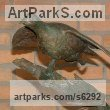Bronze Small bird sculpture by Jos� Miguel Franco de Sousa titled: 'Partridges (Pair bronze Partridges Taking Off sculpture)'