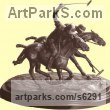 Bronze Horses Small, for Indoors and Inside Display sculpturettes Sculptures figurines commissions commemoratives sculpture by sculptor José Miguel Franco de Sousa titled: 'Polo Players (bronze small Ponies statue)'