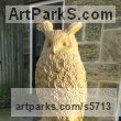 York stone Garden Or Yard / Outside and Outdoor sculpture by sculptor Joseph Hayton titled: 'Eagle Owl (Carved stone Perched Bird of Prey sculptures)' - Artwork View 1