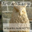 York stone Garden Or Yard / Outside and Outdoor sculpture by sculptor Joseph Hayton titled: 'Eagle Owl (Carved stone Perched Bird of Prey sculptures)' - Artwork View 4