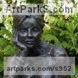 "bronze resin and marble Nudes, Female sculpture by Judy Ann Cropper titled: ""Imagine (bronze resin Thinking Girl Outdoor statues/sculptures/statue)"""