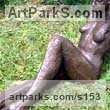 Bronze resin Garden Or Yard / Outside and Outdoor sculpture by sculptor Judy Ann Cropper titled: 'This n` That (bronze resin nude Student Girl garden sculpture)' - Artwork View 2