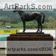 Bronze Pet and Animal Portrait Custom or Bespoke or Commission Commemorative or Memoriaql sculpture statue sculpture by Judy Boyt titled: 'Golden Miller at Cheltenham Racecourse'