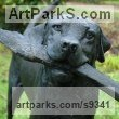 Bronze Resin/Cold Cast Love / Affection sculpture by Judy Boyt titled: 'Sammy just a little stick (Bronze Labrador Dog sculpture)'