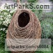 Woven Willow Willow, Bark and mosssculpture / statue / statuette sculpture by sculptor Julia Clarke titled: 'untitled 1 (Big Outdoor Woven Willow Nest sculpture)'