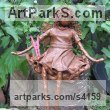 Material & wire Garden Or Yard / Outside and Outdoor sculpture by sculptor Karen Williams titled: 'Hwor Sitting Faerie (Small Fairy Bronze Effect garden/Yard statuettes)' - Artwork View 4