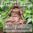 Recycled material Humorous Witty Amusing Lighthearted Fun Jolly Whimsical sculpture statuettes figurines sculpture by sculptor Karen Williams titled: 'Lenlann sitting garden faerie'