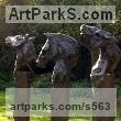 Resin Garden Or Yard / Outside and Outdoor sculpture by sculptor Kate Denton titled: 'Paladins of Charlemagne III (Bronze Horse Busts/Heads statues/sculpture)' - Artwork View 1