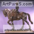 Bronze Horse and Rider / Jockey Sculpture / Equestrian sculpture by sculptor Kathleen Friedenberg titled: 'Drum Horse (Fully Mounted and Accoutered statuette)'
