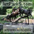 Bronze Garden Or Yard / Outside and Outdoor sculpture by sculptor Kathleen Friedenberg titled: 'Fallen Tree Fountain (Horses Jumping statuary)' - Artwork View 2