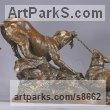 Bronze Dogs sculpture by sculptor Kathleen Friedenberg titled: 'Mine (Little Dogs Playing Frisking statuette)'