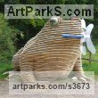 Wood/resin/copolyester Reptiles Sculptures and Amphibian sculpture by Keith Gibbons titled: 'TOADSTACK (Giant Wooden Outdoor Squatting Toad garden sculpture)'
