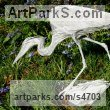 Aluminium Varietal Mix of Bird Sculptures or sculpture by sculptor Kenneth Potts titled: 'Egret Stalking (Out Door Pond Side Snowy or Cattle sculpture)'