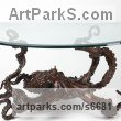 Bronze Glass or Acrylic Transparant sculpture by Kirk McGuire titled: 'Coffee Table Cephalopod (Big Bronze life size Octopus sculpture/statue)'
