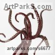 Bronze Predators Carnivores Hunters Flesh Eaters sculpture statuettes carvings sculpture by sculptor Kirk McGuire titled: 'Legend I (bronze Realistic Giant Squid sculpturette sculpture)' - Artwork View 1