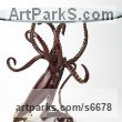 Bronze Octopus, Cuttle Fish, Squid, Pearly Nautilus Amonite sculpture by Kirk McGuire titled: 'Legend (Table version bronze Squid sculpture/statue for sale)'