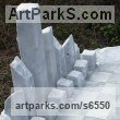 Carrara marble Architectural sculpture by sculptor Krystyna Sargent titled: 'Chess as Art - New York (abstract Carved marble Chess Set Game statue)'