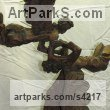Bronze Angel sculpture by sculptor L�szl� Juhos titled: 'Angels (Flying Playing Angels bronze small sculptures)'