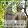 Bronze Couples or Group sculpture by sculptor L�szl� Juhos titled: 'Bacos Well'