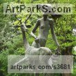 Bronze Nudes, Female sculpture by sculptor L�szl� Juhos titled: 'The Girl and the Dear (Stag and nude garden sculptures)'