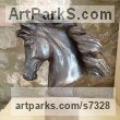 Bronze Resin Horses Small, for Indoors and Inside Display Statues statuettes Sculptures figurines commissions commemoratives sculpture by Laura Lian titled: 'Horse Head II (Bronze resin Horse Head Bust statuette statue)'