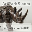Bronze African Animal and Wildlife sculpture by Li-Jen SHIH titled: 'Rhino Vessel (Small Rhinoceros Bronze sculpture statue)'