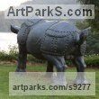 Bronze Garden Or Yard / Outside and Outdoor sculpture by sculptor Li-Jen SHIH titled: 'Run to Victory (life size Asian Rhino sculpture)' - Artwork View 2