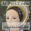 Stoneware, glazed & gilded Ceramic sculpture by sculptor Lida Baas titled: 'Catherine Howard'