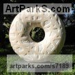 Marble sculpture Round Disk, Dish, Flat Circular Ring Shaped Sculptures / Statues statuette statuary sculpture by Liliya Pobornikova titled: 'Circle of life (Carved marble Ring Yard statue)'