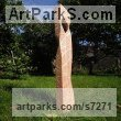 Pine wood Column Pillar Columnar Stele sculpture statuary sculpture by sculptor Liliya Pobornikova titled: 'Crossroads 2 (Simplistic Minimalist Carved Wood Stele Column statue)'
