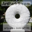 Marble sculpture Abstract Contemporary Modern Outdoor Outside Garden / Yard Sculptures Statues statuary sculpture by Liliya Pobornikova titled: 'Infinity (Circular Round Disk Carved marble abstract Modern statue)'