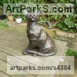 "resin Cats Sculpture by Linda Preece titled: ""Tina - Ocicat (life size Cat Sitting Seated sculpture statue statuette)"""