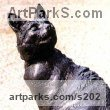 "bronze resin Cats Sculpture by Lorne Mckean titled: ""Cat Benny (Big Portrait Sitting Seated sculptures bronze resin)"""