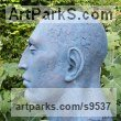 Bronze Resin Figurative Abstract Modern or Contemporary Sculptures Statues statuary statuettes figurines sculpture by Lucy Kinsella titled: 'Monumental Blue Head I (Oversize Big garden sculpture)'