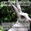 Bronze Resin Hares and Rabbits sculpture by sculptor Lucy Kinsella titled: 'Seated Hare (Large Outsize Bronze resin garden sculptures)'