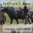 Bronze Farm Yard sculpture by sculptor Lucy Poett titled: 'Drover with Highland Bull and Dog'