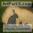 Beech wood and slate Animals in General sculpture sculpture by sculptor Luke Boam titled: 'Watchful Mother'