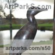 Bronze Varietal Mix of Bird Sculptures or sculpture by sculptor Lynda Hukins titled: 'The Vigil (Contemporary abstract Minimalist Sea Bird Cormorant statue)' - Artwork View 3