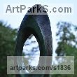 Bronze Sculpture Abstract Contemporary Modern Outdoor Outside Garden / Yard sculpture statuary sculpture by sculptor Lynda Hukins titled: 'abstract - Vision (Circular Ring abstract Modern garden/Yard statues)' - Artwork View 2