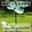 Glass & Steel Varietal cross section of Floral, Fruit and Plantlife sculpture by sculptor Lynette Forrester titled: 'Fig Leaves (Outside outdoors garden/Yard Art Glass sculpture)'