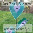 Glass, powder coated steel & slate Arte Nouveau Style sculpture by sculptor Lynette Forrester titled: 'Heart Leaves (Emerald and Pink Coloured Art Glass Floral sculpture)'