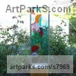 Glass, steel & oak. Abstract Contemporary Modern Outdoor Outside Garden / Yard sculpture statuary sculpture by sculptor Lynette Forrester titled: 'Summer Breeze (framed fused and laminated glass panel)' - Artwork View 3