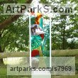 Glass, steel & oak. Abstract Contemporary Modern Outdoor Outside Garden / Yard sculpture statuary sculpture by sculptor Lynette Forrester titled: 'Summer Breeze (framed fused and laminated glass panel)' - Artwork View 4