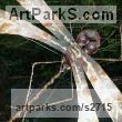 Copper with steel rod clad in copper tube for stem Garden Or Yard / Outside and Outdoor sculpture by sculptor Lynn Mahoney titled: 'Copper Dragonfly sculpture on pole (Big Flying Insect garden statues)' - Artwork View 1