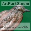 Copper Animals and Birds in Repose Resting Sleeping Lying sculpture by sculptor Lynn Mahoney titled: 'Mr Crow'
